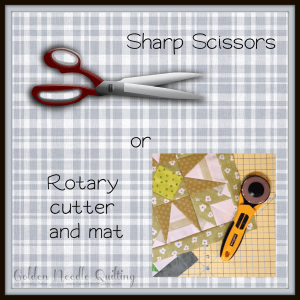Image of scissors and a photo showing a quilt block and rotary cutter laying on a cutting mat.